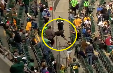 Baseball fan eats concrete after hopelessly heroic dive for foul ball