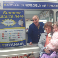 Ryanair is handing out free ice-cream at Dublin Airport
