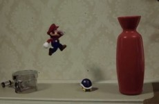 Super Mario jumps out of a TV and destroys house in amazing animation