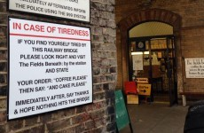 Coffee shop customises emergency bridge sign in stroke of genius