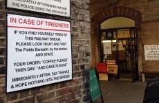 Coffee shop customises emergency bridge sign in stroke of genius