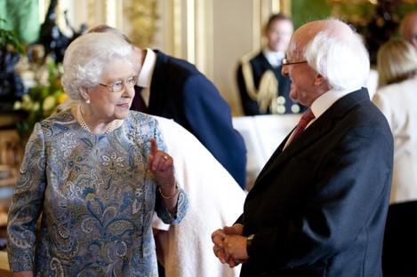 Queen Elizabeth and Michael D Higgins in Windsor Palace earlier today