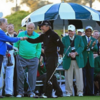 Jack Nicklaus and Gary Player fist bump to get the Masters underway