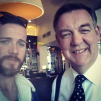 Bryan Dobson took a selfie with a fan on the State visit