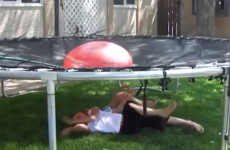 Evil genius dad convinces kids to soak themselves with gigantic water balloon