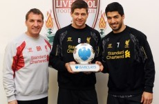 Suarez and Gerrard BOTH win Player of the Month (and Rodgers makes it a hat-trick)