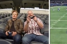 Conan O'Brien gets to play Madden on the jumbotron at the Dallas Cowboys' stadium