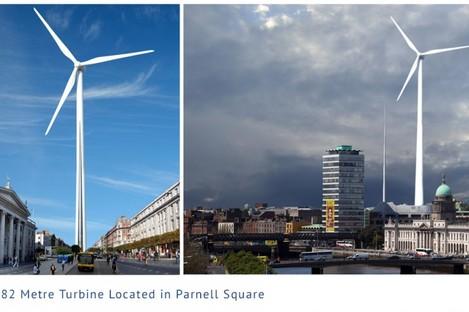 Artist's impression of a wind turbine in Parnell Square