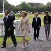"""Obama says the """"sun's coming out"""" as he meets with President McAleese at the Áras"""