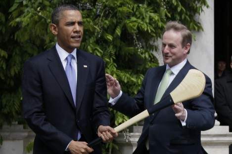 Watch out! Obama is presented with a hurley by Kenny after their bilateral meeting today.