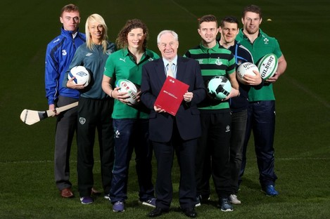 Michael Ring TD was joined by (L-R) Pauric Mahony, Stephanie Roche, Jenny Murphy, Sean O'Brien, Kevin McManamon and Stephen McPhail.