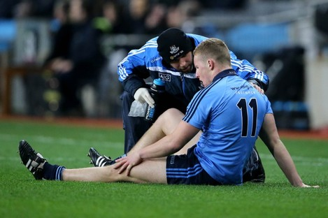 Dublin's Ciaran Kilkenny after injuring his cruciate against Kildare.
