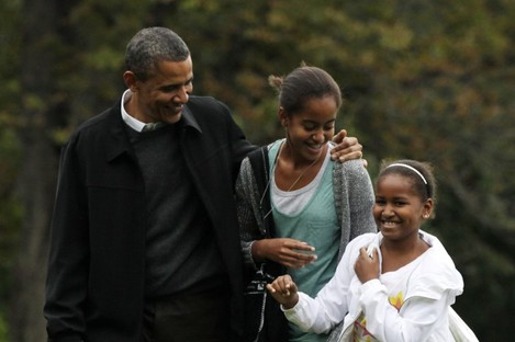 President Obama with his daughters Sasha (far right) and Malia. The girls haven't travelled to Ireland, but Uncle Enda didn't forget them