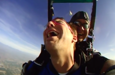 This man is REALLY not enjoying his skydive