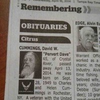 This obituary for 'Pervert Dave' is completely real