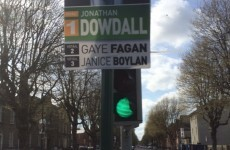 Another election poster is blocking a traffic light in Dublin