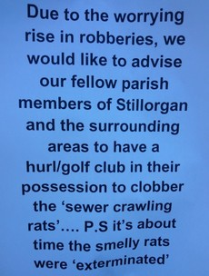 Poster encourages community to 'clobber' burglars with hurls and golf clubs