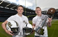 Mossy Quinn and Colin Walshe don't fancy their chances at American football