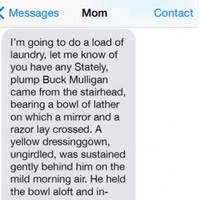 Prankster confuses his mam by autocorrecting her texts to a passage from Ulysses