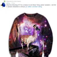Gerry Adams trying to win this trippy llama jumper on Twitter
