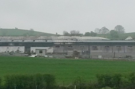The scene of the fire at the farm in Bessbrook, Co Armagh, earlier today.