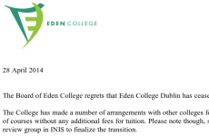 Hundreds of students left with questions after Eden College closes its doors in Dublin city centre