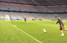 Sergio Ramos scores magnificent behind-the-goal trick-shot in training