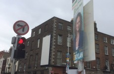 Traffic lights were blocked at this city centre junction because of election posters