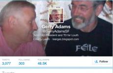 Who has been using Gerry Adams's Twitter account while he's been under arrest?