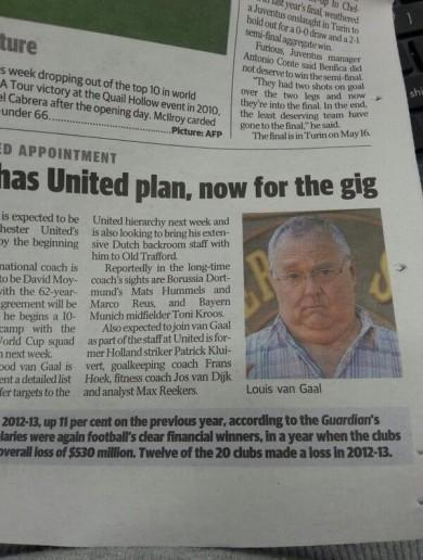 Australian newspaper mixes up Louis van Gaal and Harold from Neighbours
