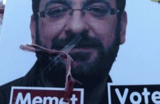 """Outrage"" as vandals tape bacon to posters of candidate with Turkish background"