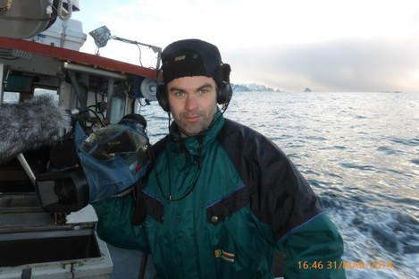 Richie O'Donnell filming in the north Atlantic