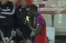 Footballer yellow-carded for eating banana in goal-scoring celebration