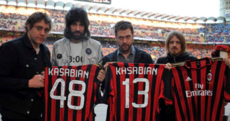 Snapshot: Kasabian are at tonight's Milan derby and it's pretty clear who they're supporting