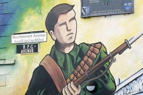 Irish Republican Army mural in West Belfast, Northern Ireland,