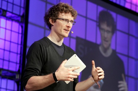 Paddy Cosgrave on the main stage at the Dublin Web Summit.
