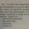 This letter to the Irish Times brings up an excellent point about water charges