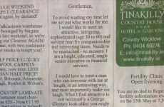 This Irish Times lonely hearts ad is... intense