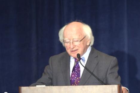 President Higgins delivers his speech.