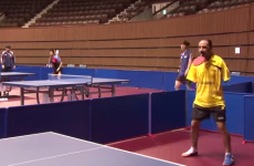 Table-tennis player with no arms takes on the world number two
