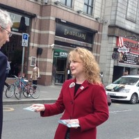 'Ah yeah, I probably will': Fianna Fáil looks for votes at Dublin's most competitive Luas stop