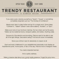 This accurately describes every 'trendy' restaurant in Ireland