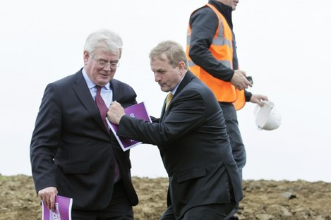 An Taoiseach Enda Kenny with Tanaiste Eamon Gilmore at the launch of Construction 2020 last week.