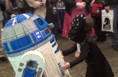 Little Darth meets R2-D2, whole world squees
