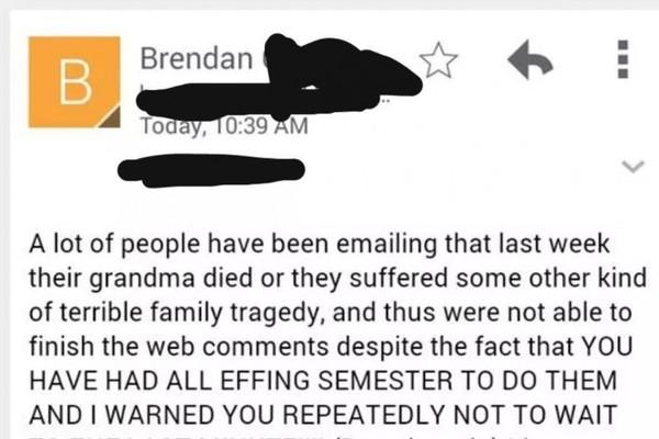 Irish college professor is sick of your dead granny excuses