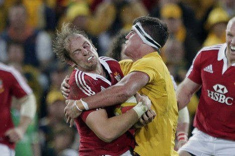 Kane Douglas tackles Alun-Wyn Jones during Australia's first Test against the Lions.