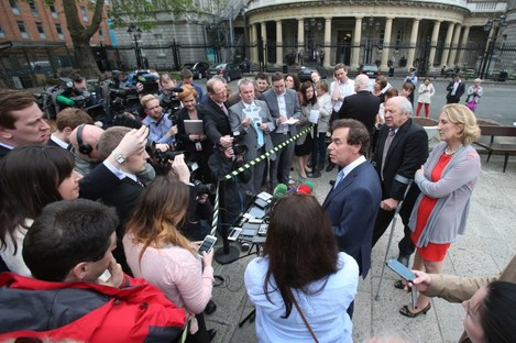 Alan Shatter speaks to the media at Leinster House today