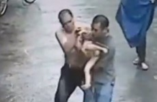 VIDEO: Two men save baby after it falls out window