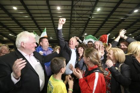 Sinn Féin's Daithí Doolan celebrates his election.