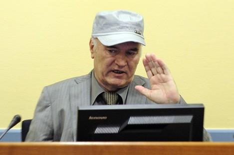 Ratko Mladic at The Hague today